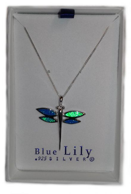 Dragonfly Synthesised Fire Opal in a Sterling Silver Pendant with an 18 inch Chain